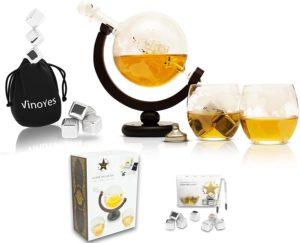 Whisky Karaffe mit Gläser und Whisky Steine