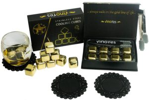 Whisy Steine in Gold mit Zange und Untersetzer